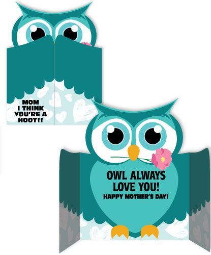 Printable Owl Holding A Letter Card Template Large by Owl S Day Card Owl S Day Card