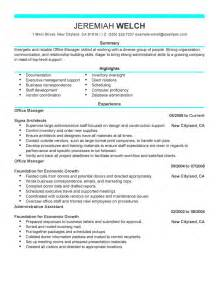 office manager resume exle admin sle resumes
