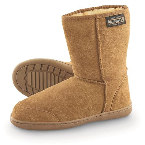 boot house shoes guide gear men s 10 quot suede boot slippers 77189 slippers at sportsman s guide