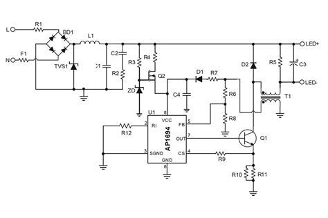 diode led schematic new mains dimmable led l driver from diodes led professional led lighting technology
