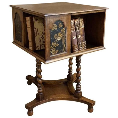 bookcase side table antique german hand crafted swivelling bookcase end table