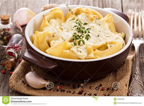 baked pasta with cottage cheese stock photography image