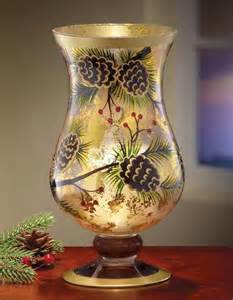pinecone christmas holiday hurricane candle holder ebay