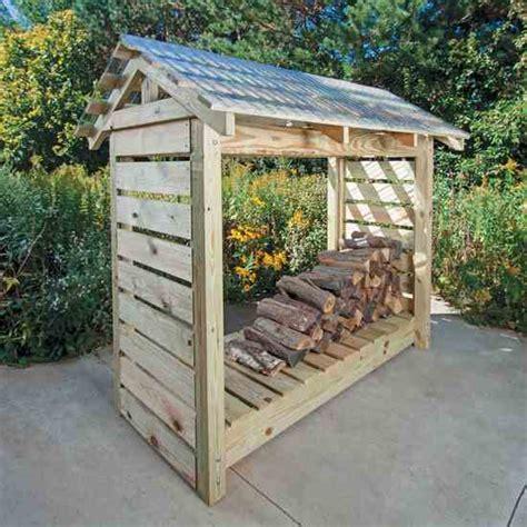 constructing  firewood shelter farm  garden grit