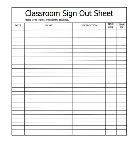 bathroom sign in out sheets classrooms sign out sheet template 9 free sles exles format