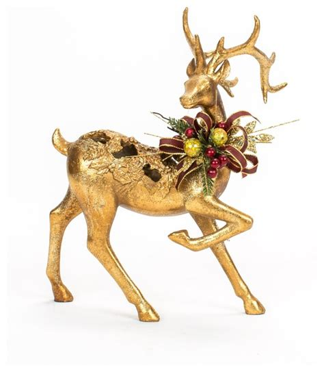 christmas decorated gold deer traditional holiday