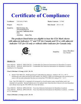 gasalertmicroclip series certificate of compliance
