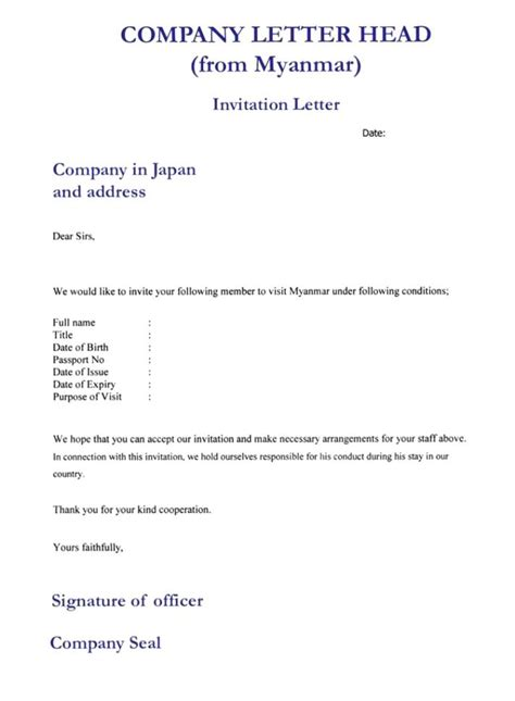 Invitation Letter For Business Visa To Germany Sle Invitation Letter For Visa Application Us Cover