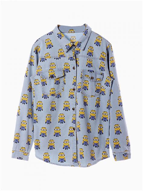 Risya Blouse Blue Mininos despicable me minions print denim shirt in light blue abaday