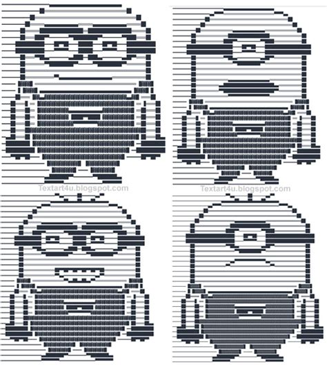 text ascii icons minions emoticons text for cool ascii text