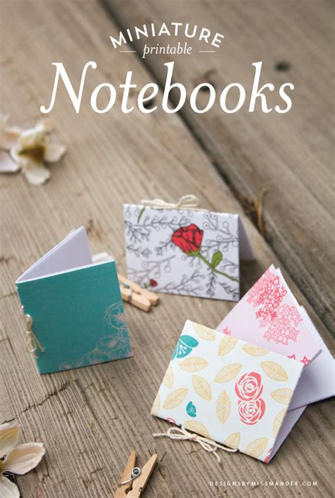 Printable Handmade Paper Uk | miniature printable notebooks designs by miss mandee