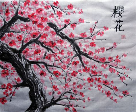 japanese cherry blossom tree japanese artwork cherry blossom love me some art