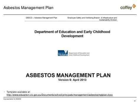 Asbestos Awareness Training For Schools By Deecd Asbestos Abatement Plan Template