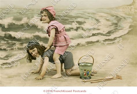 printable beach postcards victorian children playing leap frog on the frenchkissed