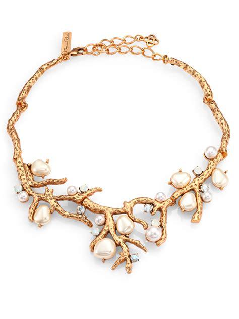 Branch Necklace lyst oscar de la renta swarovski faux pearl