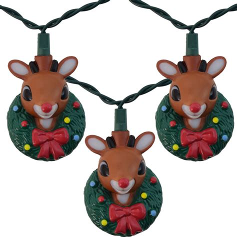 rudolf w christmas wreath novelty light set