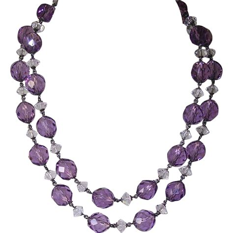 amethyst bead necklace edwardian 935 silver amethyst faceted bead