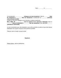 Exemple De Lettre Qui Certifie Sur L Honneur modele attestation de domicile pour ma fille document