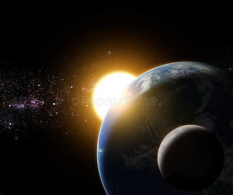 ilustraciones de vectores de sol tierra luna espacio la salida del sol a la tierra y a la luna en el elemento