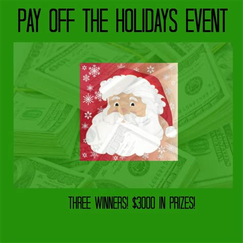 Event Giveaway - pay off the holidays event giveaway