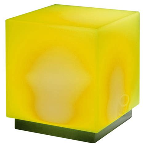 Light Yellow Stool by Light Cube Mono Luminous Low Stool Yellow By Viteo