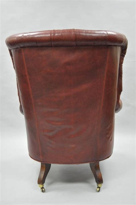 oversized lillian august brown tufted leather english chesterfield wing chair  sale  stdibs