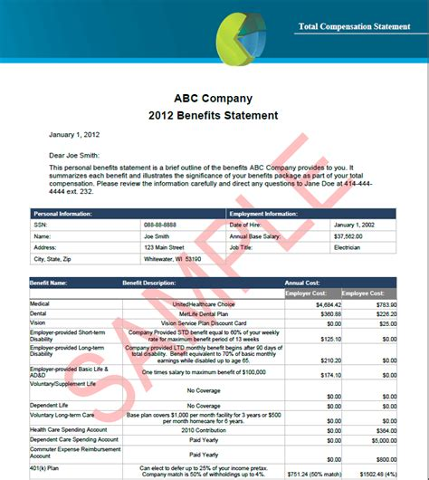 compensation statement template employee benefits total compensation statements cbg