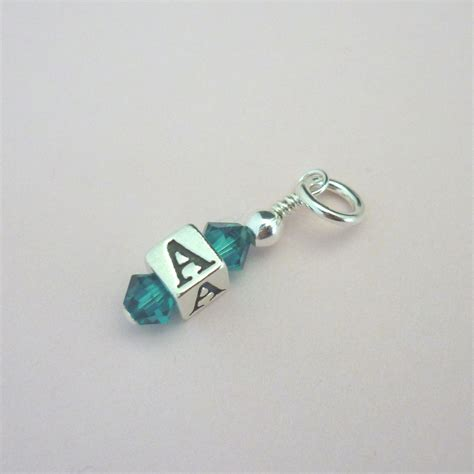 letter and birthstone charm sterling silver charming