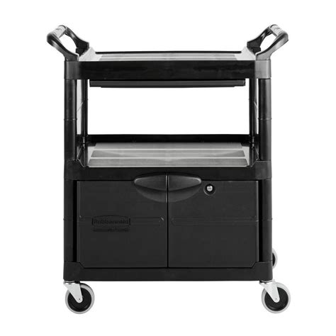 rubbermaid commercial products utility cart with lockable