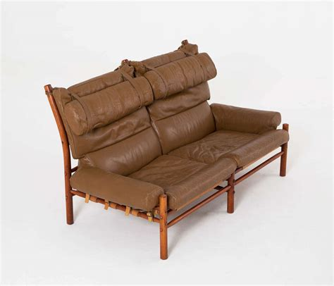 buffalo hide sofa cognac buffalo leather inka sofa by arne norell at 1stdibs