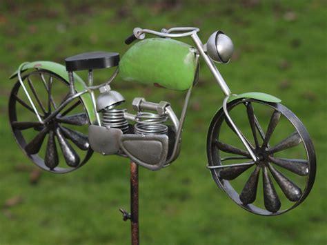 windmolen fiets in de tuin ws497 windspel motor fiets met 2 windmolens als wielen
