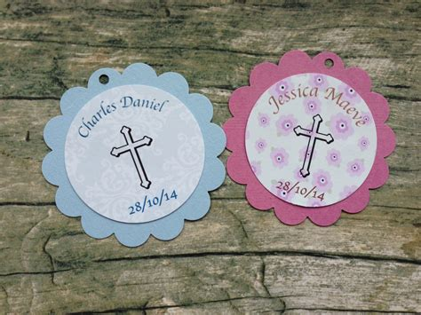 Handmade Baptism Favors - 30 handmade christening or baptism favour favor tags in pink