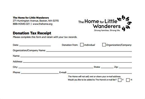 tax donation receipt template sle donation receipt template 17 free documents in