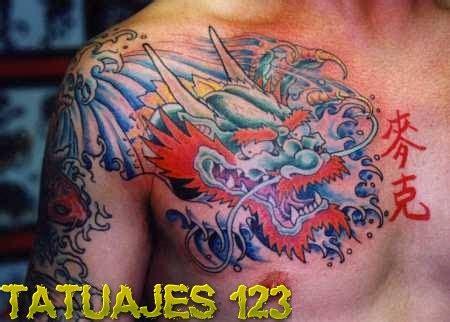 dragon en el pecho tatuajes 123