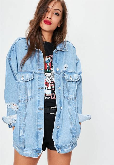 Blue Oversized Denim Jacket 1 blue oversized boyfriend fit denim jacket missguided