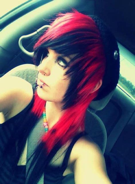 emo dyed hairstyles black emo hair my hair and red hair on pinterest