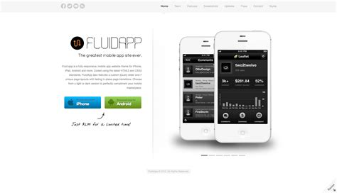 themeforest mobile app fluidapp responsive mobile app wordpress theme by