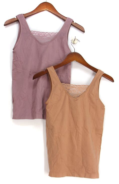 Sleep Cami With Shelf by Rhonda Shear Ahh 2 Pack Seamless Lace Insert Cami Tank Top