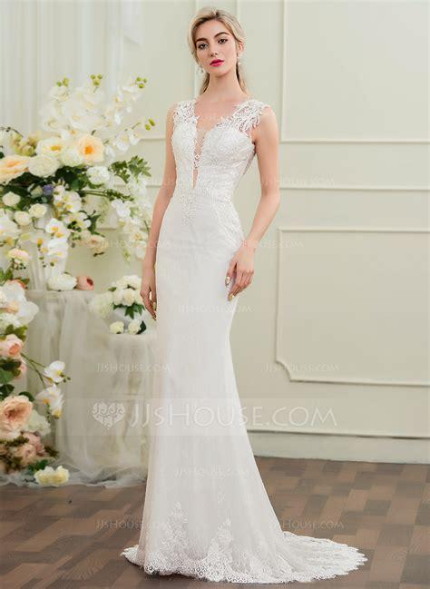 beading a wedding dress trumpet mermaid v neck sweep train lace wedding dress with