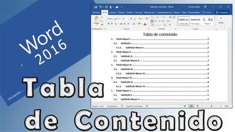 tablas en word 2016 como realizar una tabla de contenido estilos de t 237 tulos y