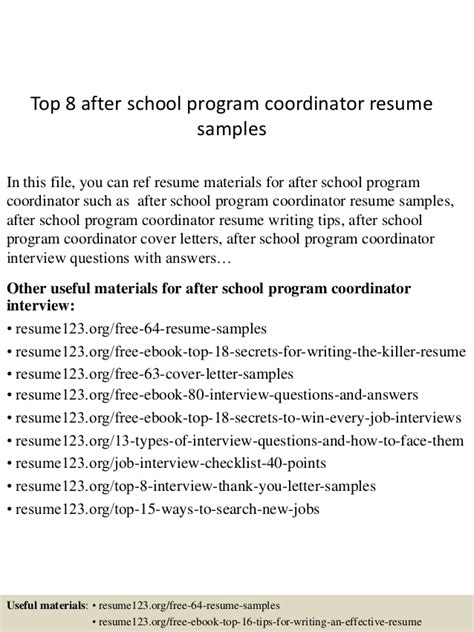 After School Coordinator Sle Resume by Top 8 After School Program Coordinator Resume Sles
