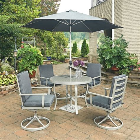 south 7 pc outdoor dining table 4 swivel