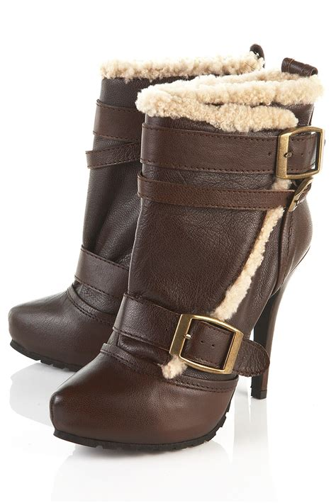 topshop leather and sheepskin shearling boots toppingyou