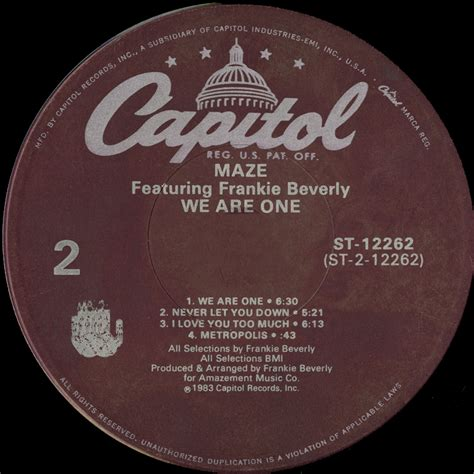 Label We 2 by Maze Featuring Frankie Beverly We Are One Vinyl Album