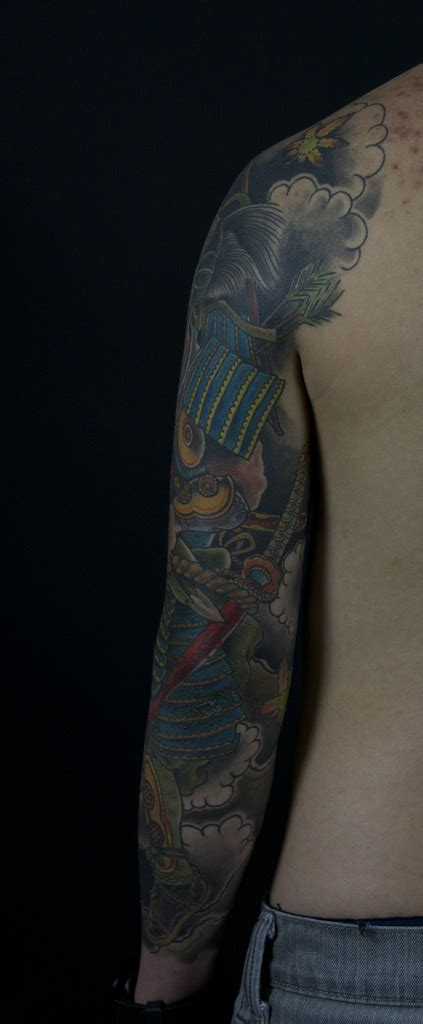 japanese geisha and samurai sleeve mark thompson tattoo