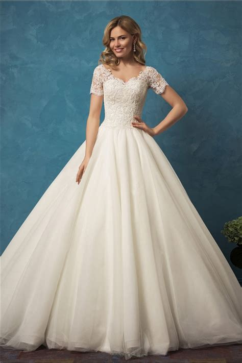 Bridal Gowns With Sleeves by Gown V Neck Sheer Back Sleeve Tulle Lace