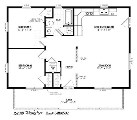 24 X 36 With 6 X 32 Porch Park Models And Small 24 X 38 House Plans