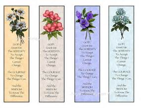 instant printable bookmarks flowers serenity prayer digital