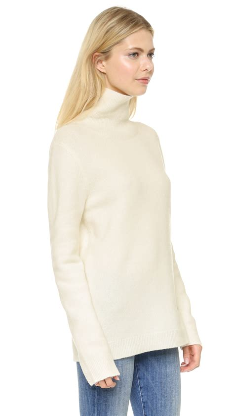 white turtleneck sweater dkny long sleeve turtleneck sweater ivory in white lyst