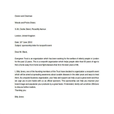 Request Letter Sle Documents Sle Sponsorship Request Letter For Non Profit